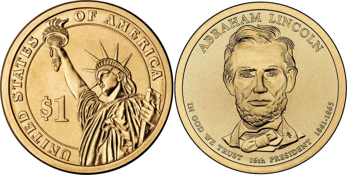 Монета 1 доллар сша 16 президент авраам линкольн 2010 год.