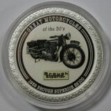 Монета. 2 доллара 2007 год. Остров Кука. Серия Мотоциклы 30-х годов. Мотоцикл Matchless Silver Hawk. Серебро 999 проба, 31,1 грамм